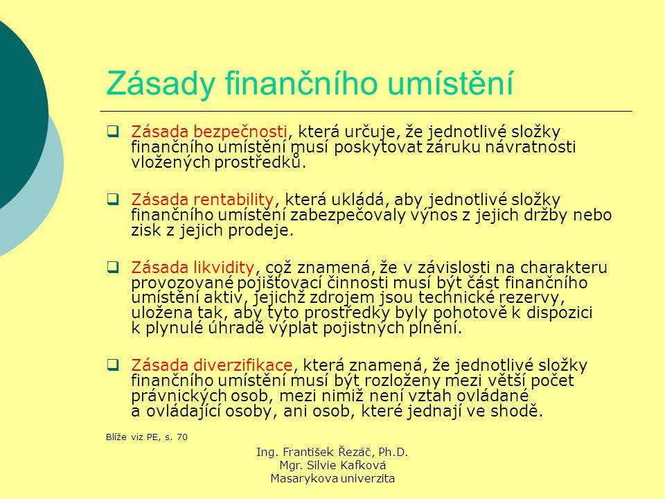 Ing. František Řezáč, Ph.D. Mgr. Silvie Kafková Masarykova univerzita Zásady finančního umístění  Zásada bezpečnosti, která určuje, že jednotlivé slo