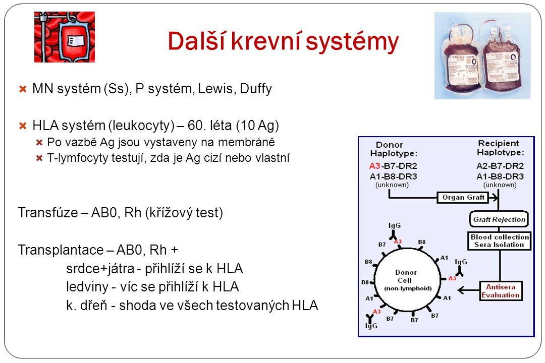 Další krevní systémy  MN systém (Ss), P systém, Lewis, Duffy  HLA systém (leukocyty) – 60. léta (10 Ag)  Po vazbě Ag jsou vystaveny na membráně  T