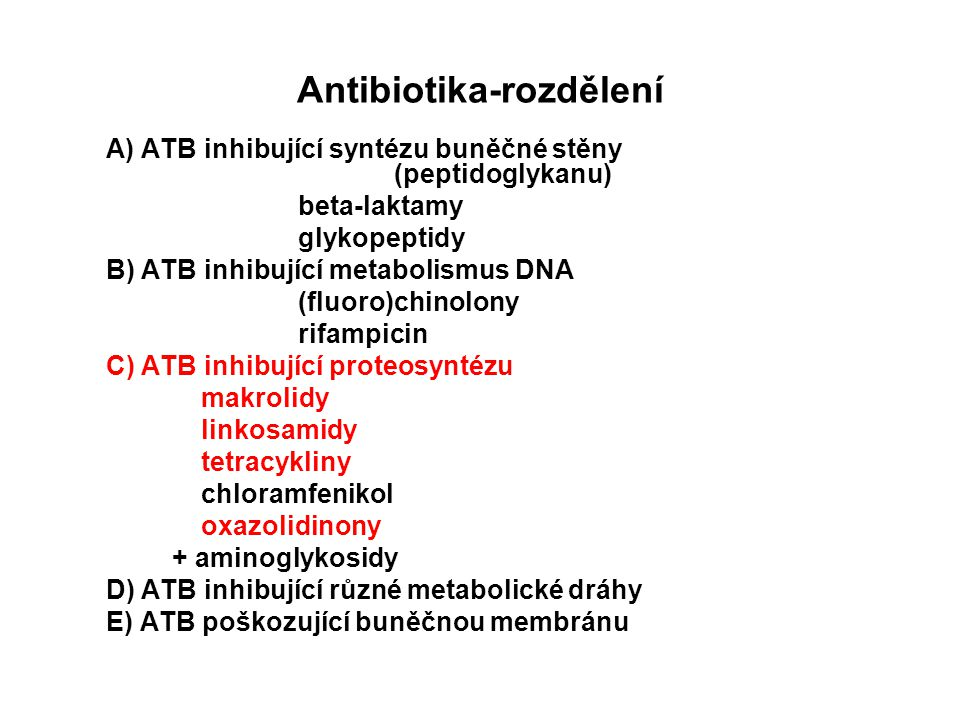 Antibiotika-rozdělení A) ATB inhibující syntézu buněčné stěny (peptidoglykanu) beta-laktamy glykopeptidy B) ATB inhibující metabolismus DNA (fluoro)ch