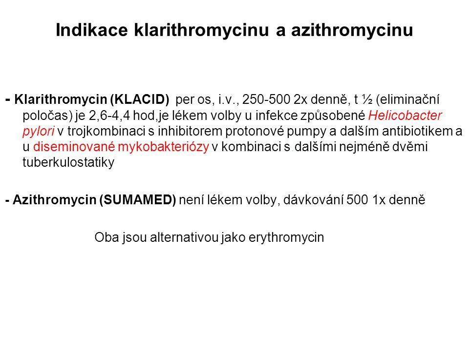 Indikace klarithromycinu a azithromycinu - Klarithromycin (KLACID) per os, i.v., 250-500 2x denně, t ½ (eliminační poločas) je 2,6-4,4 hod,je lékem vo
