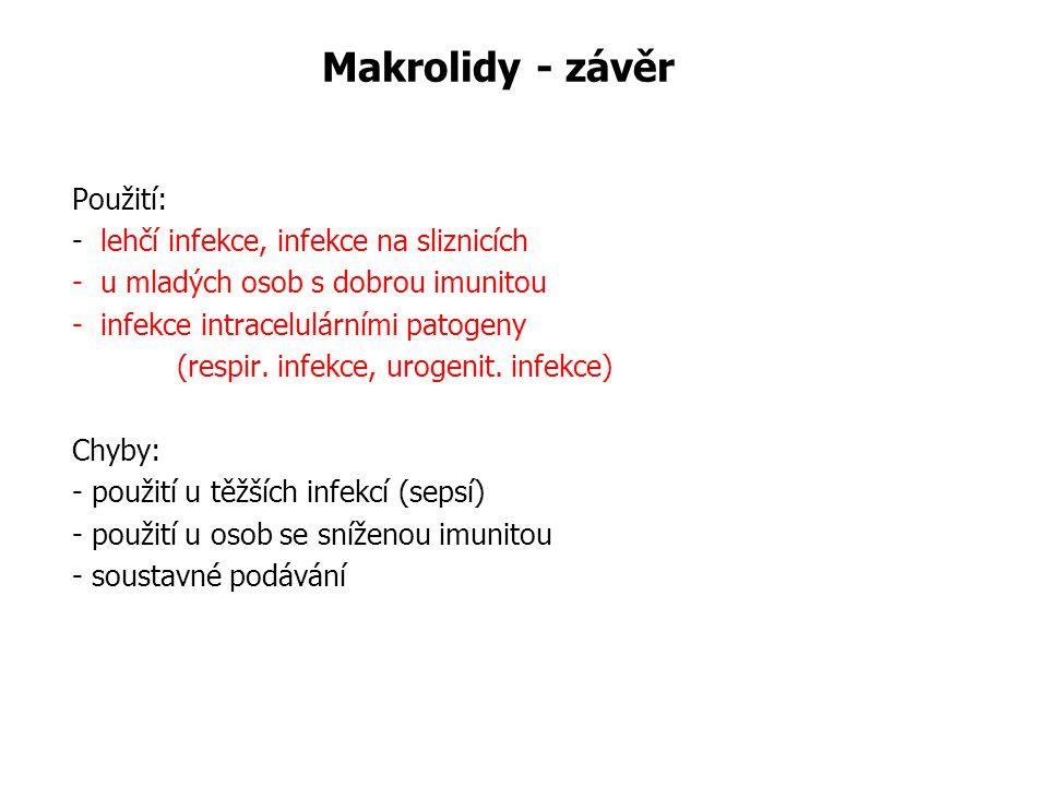Makrolidy - závěr Použití: - lehčí infekce, infekce na sliznicích - u mladých osob s dobrou imunitou - infekce intracelulárními patogeny (respir. infe