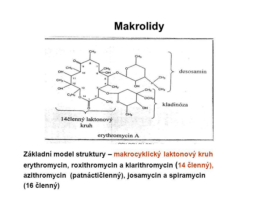 Makrolidy Základní model struktury – makrocyklický laktonový kruh erythromycin, roxithromycin a klarithromycin ( 14 členný), azithromycin (patnáctičle