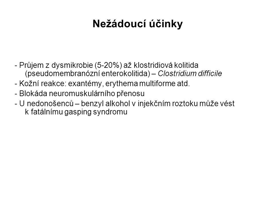 Nežádoucí účinky - Průjem z dysmikrobie (5-20%) až klostridiová kolitida (pseudomembranózní enterokolitida) – Clostridium difficile - Kožní reakce: ex