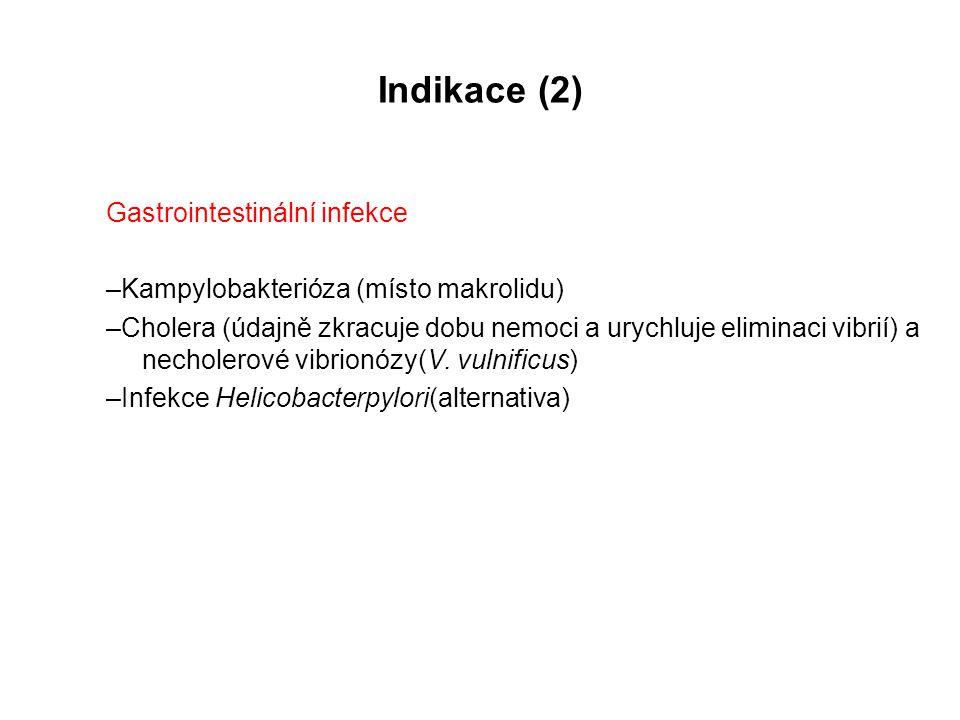 Indikace (2) Gastrointestinální infekce –Kampylobakterióza (místo makrolidu) –Cholera (údajně zkracuje dobu nemoci a urychluje eliminaci vibrií) a nec
