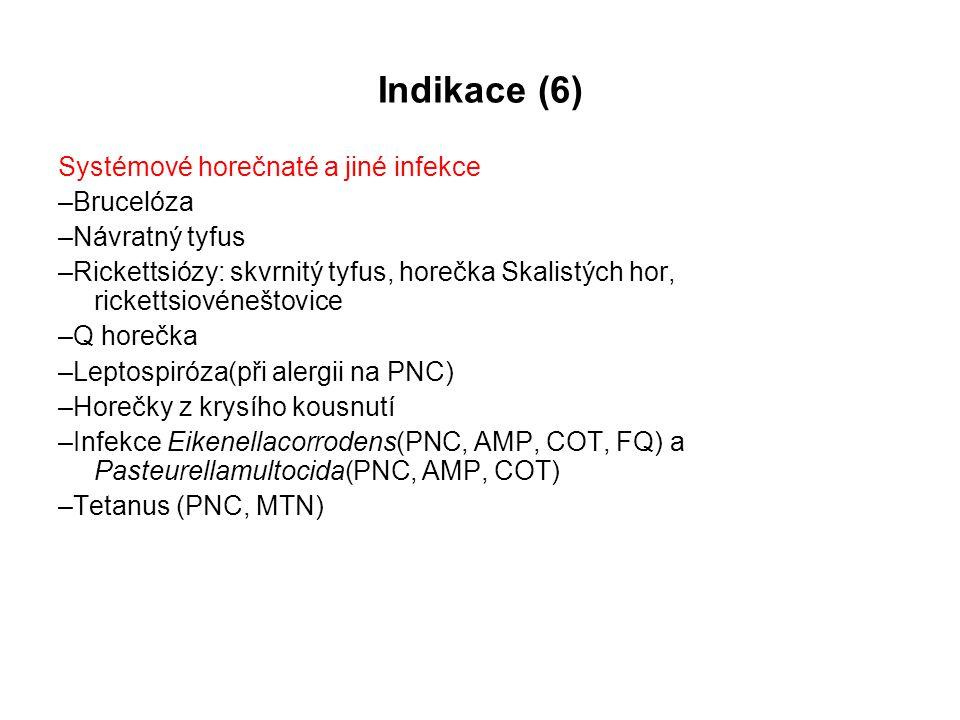 Indikace (6) Systémové horečnaté a jiné infekce –Brucelóza –Návratný tyfus –Rickettsiózy: skvrnitý tyfus, horečka Skalistých hor, rickettsiovéneštovic