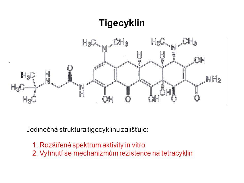 Tigecyklin Jedinečná struktura tigecyklinu zajišťuje: 1. Rozšířené spektrum aktivity in vitro 2. Vyhnutí se mechanizmům rezistence na tetracyklin