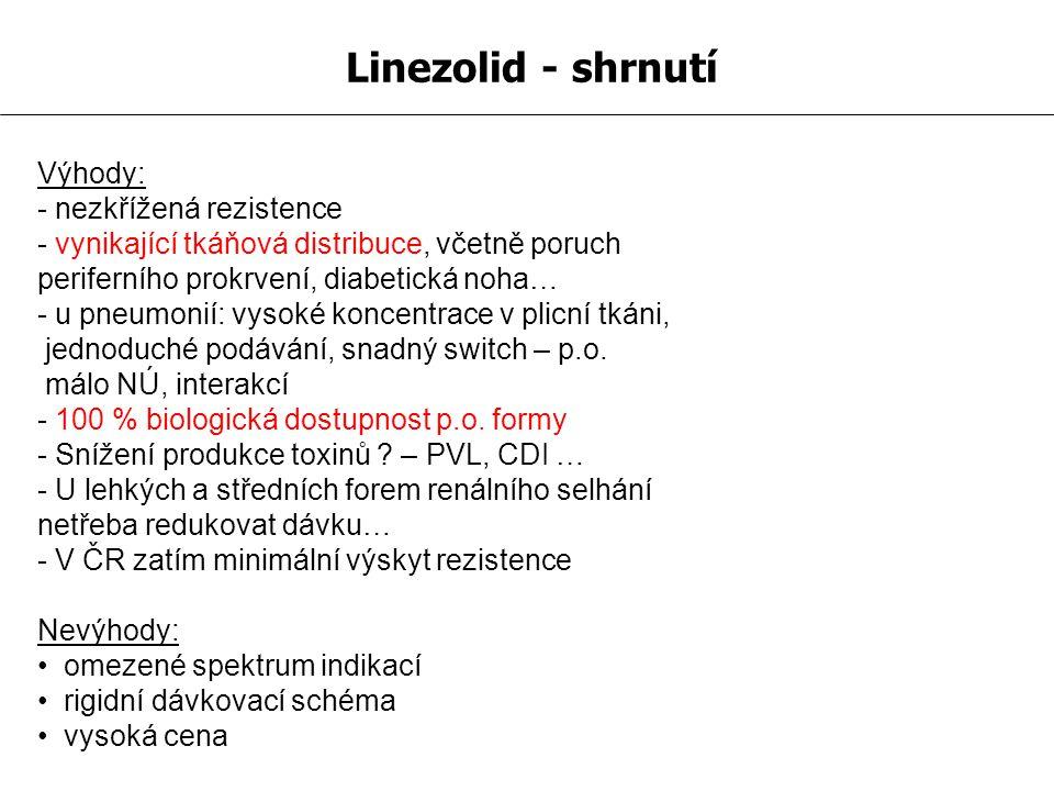 Linezolid - shrnutí Výhody: - nezkřížená rezistence - vynikající tkáňová distribuce, včetně poruch periferního prokrvení, diabetická noha… - u pneumon