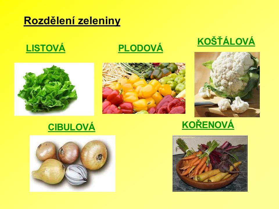 Rozdělení zeleniny LISTOVÁPLODOVÁ KOŠŤÁLOVÁ CIBULOVÁ KOŘENOVÁ