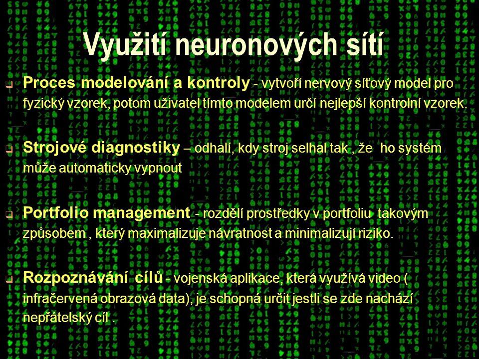 Využití neuronových sítí  Proces modelování a kontroly - vytvoří nervový síťový model pro fyzický vzorek, potom uživatel tímto modelem určí nejlepší kontrolní vzorek.