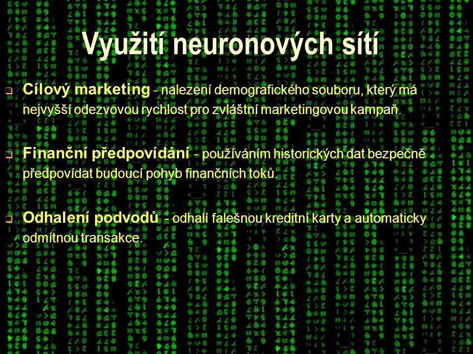 Využití neuronových sítí  Cílový marketing - nalezení demografického souboru, který má nejvyšší odezvovou rychlost pro zvláštní marketingovou kampaň.