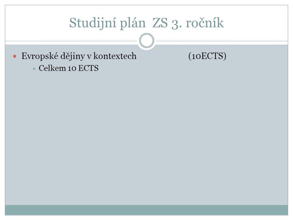 Studijní plán ZS 3. ročník Evropské dějiny v kontextech (10ECTS)  Celkem 10 ECTS