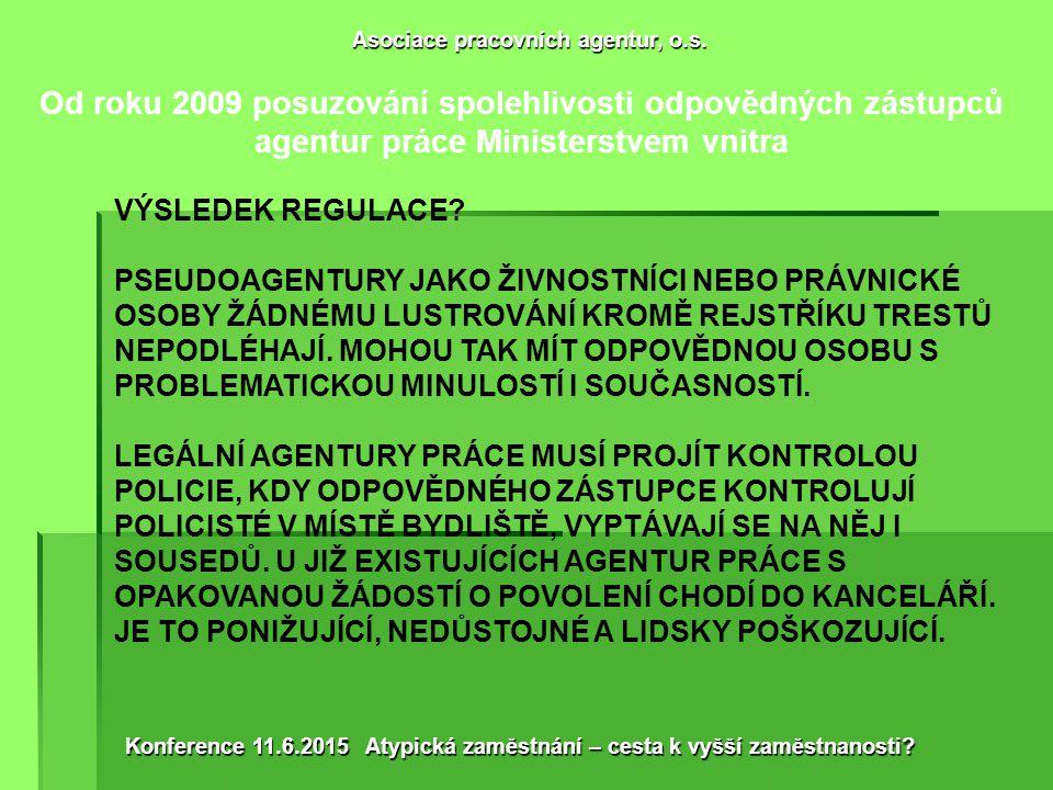 Od roku 2009 diskriminace českých agentur práce omezením podnikání na 1 subjekt a odborností odpovědného zástupce VÝSLEDEK REGULACE.