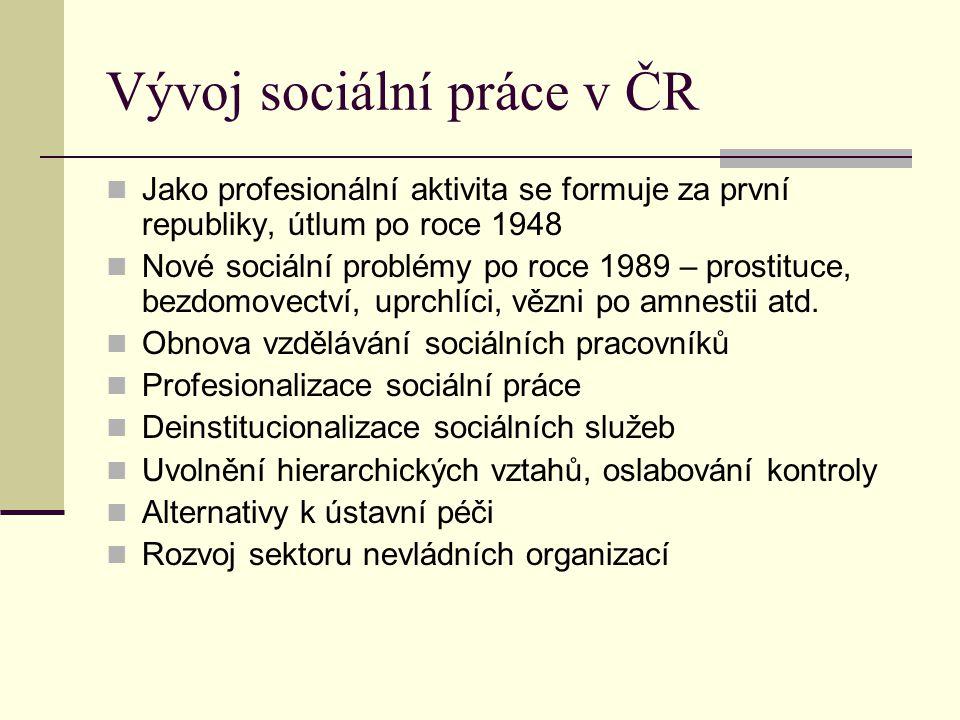 Vývoj sociální práce v ČR Jako profesionální aktivita se formuje za první republiky, útlum po roce 1948 Nové sociální problémy po roce 1989 – prostituce, bezdomovectví, uprchlíci, vězni po amnestii atd.