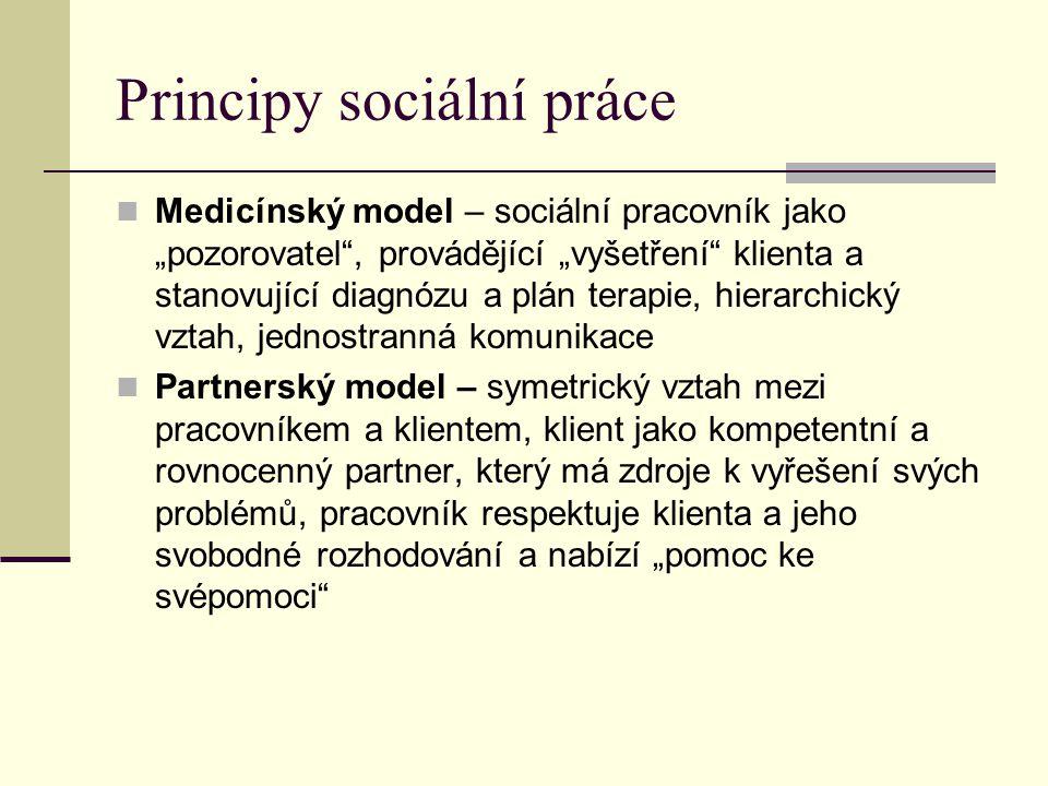 """Principy sociální práce Medicínský model – sociální pracovník jako """"pozorovatel , provádějící """"vyšetření klienta a stanovující diagnózu a plán terapie, hierarchický vztah, jednostranná komunikace Partnerský model – symetrický vztah mezi pracovníkem a klientem, klient jako kompetentní a rovnocenný partner, který má zdroje k vyřešení svých problémů, pracovník respektuje klienta a jeho svobodné rozhodování a nabízí """"pomoc ke svépomoci"""