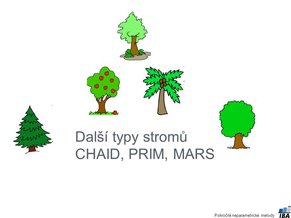 CHAID - Chi-squared Automatic Interaction Detector G.V.Kass (1980) Strom pro kategoriální proměnné→ převod spojitých proměnných na ordinální Je často využíván v komerčních sférách, především v marketingu a průzkumech veřejného mínění, má ale použití i v přírodovědných oborech.
