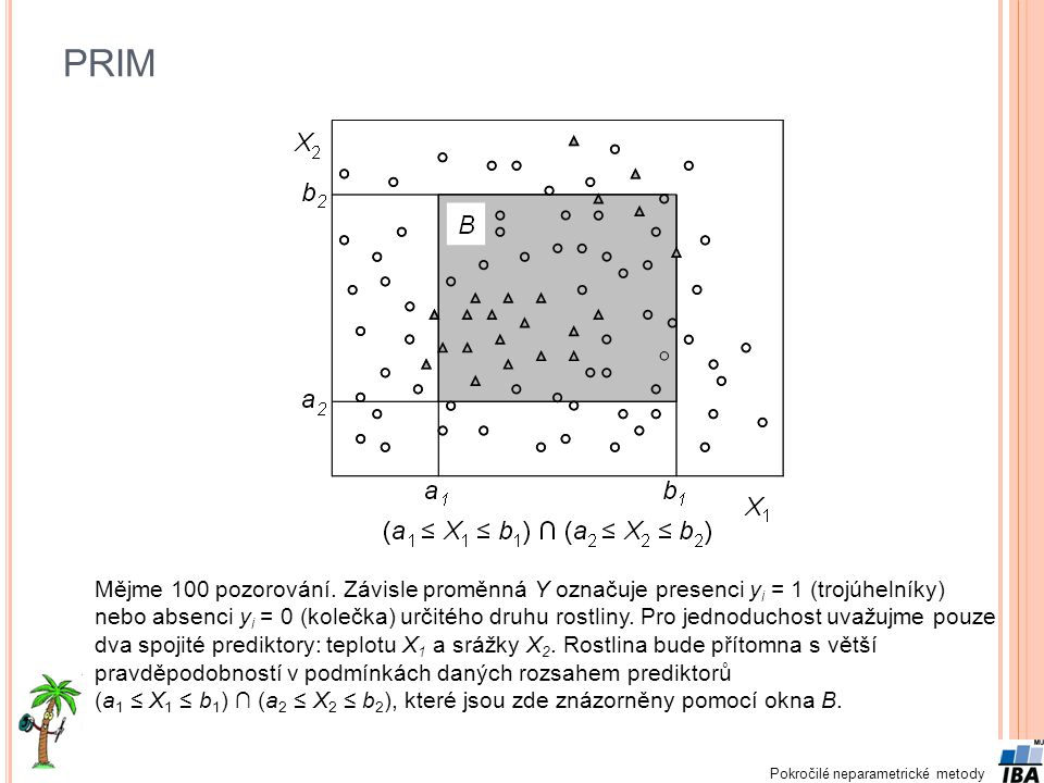 Pokročilé neparametrické metody PRIM Mějme 100 pozorování. Závisle proměnná Y označuje presenci y i = 1 (trojúhelníky) nebo absenci y i = 0 (kolečka)