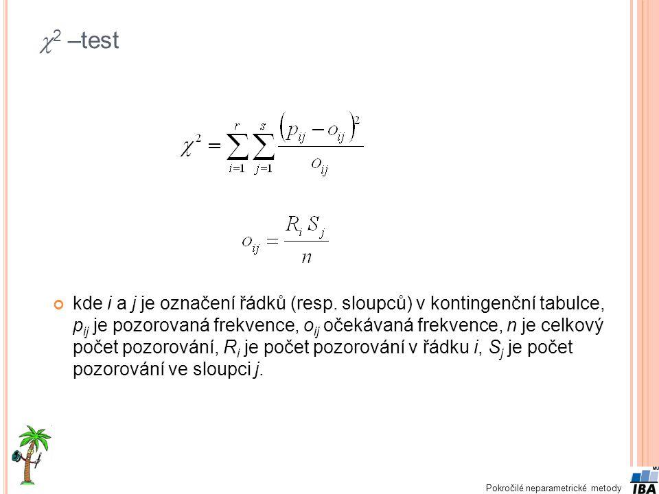 Pokročilé neparametrické metody  2 –test kde i a j je označení řádků (resp. sloupců) v kontingenční tabulce, p ij je pozorovaná frekvence, o ij očeká