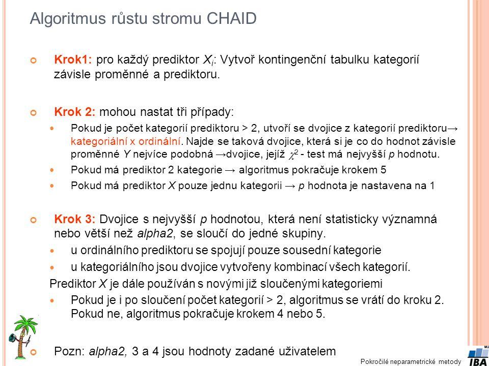 Pokročilé neparametrické metody Algoritmus růstu stromu CHAID Krok1: pro každý prediktor X i : Vytvoř kontingenční tabulku kategorií závisle proměnné