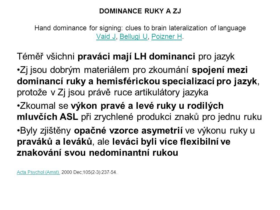 DOMINANCE RUKY A ZJ Hand dominance for signing: clues to brain lateralization of language Vaid J, Bellugi U, Poizner H. Vaid JBellugi UPoizner H Téměř