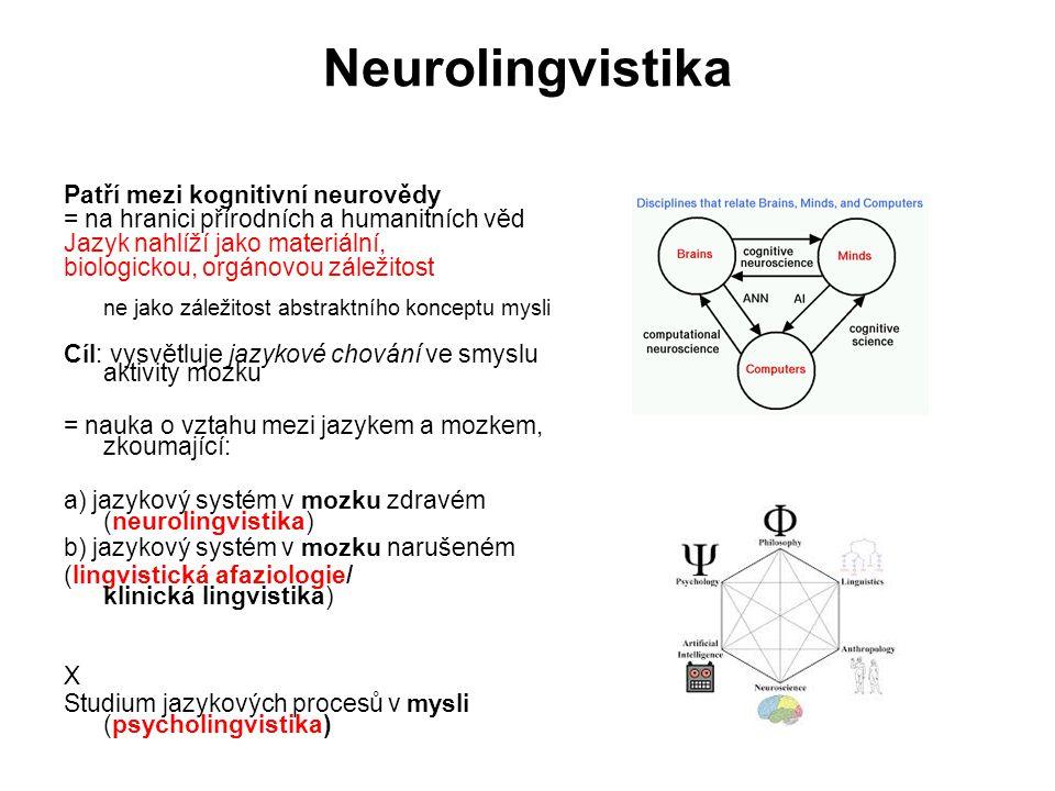 Neurolingvistika Patří mezi kognitivní neurovědy = na hranici přírodních a humanitních věd Jazyk nahlíží jako materiální, biologickou, orgánovou zálež