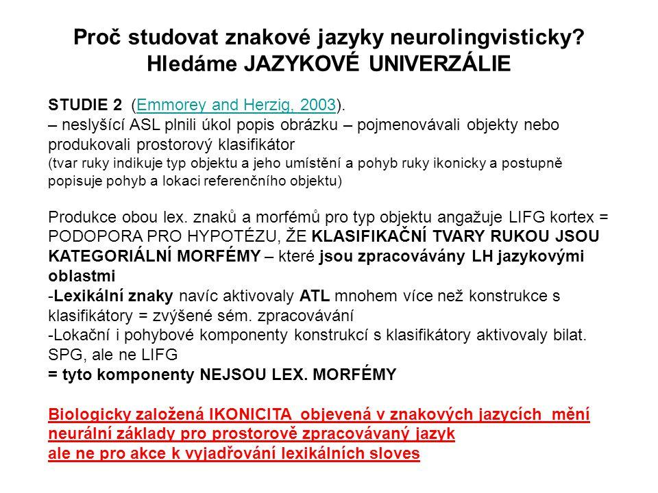 STUDIE 2 (Emmorey and Herzig, 2003).Emmorey and Herzig, 2003 – neslyšící ASL plnili úkol popis obrázku – pojmenovávali objekty nebo produkovali prosto