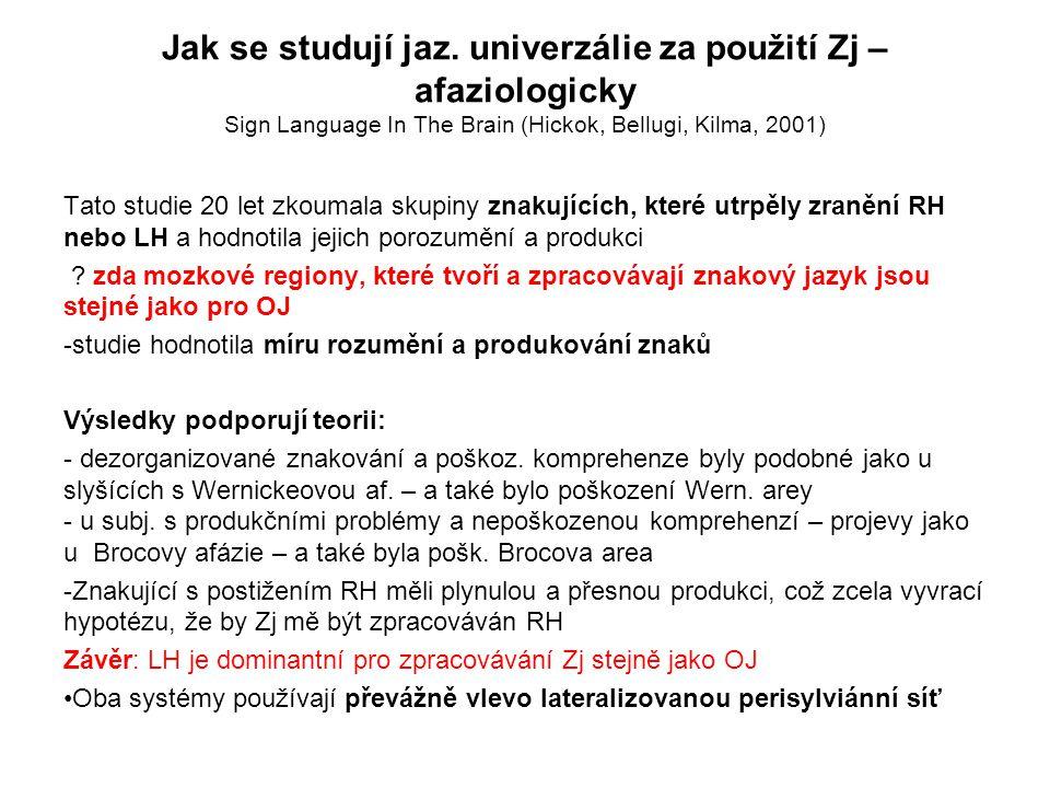 Jak se studují jaz. univerzálie za použití Zj – afaziologicky Sign Language In The Brain (Hickok, Bellugi, Kilma, 2001) Tato studie 20 let zkoumala sk