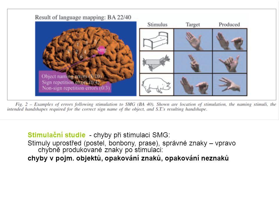 Stimulační studie - chyby při stimulaci SMG: Stimuly uprostřed (postel, bonbony, prase), správné znaky – vpravo chybně produkované znaky po stimulaci: