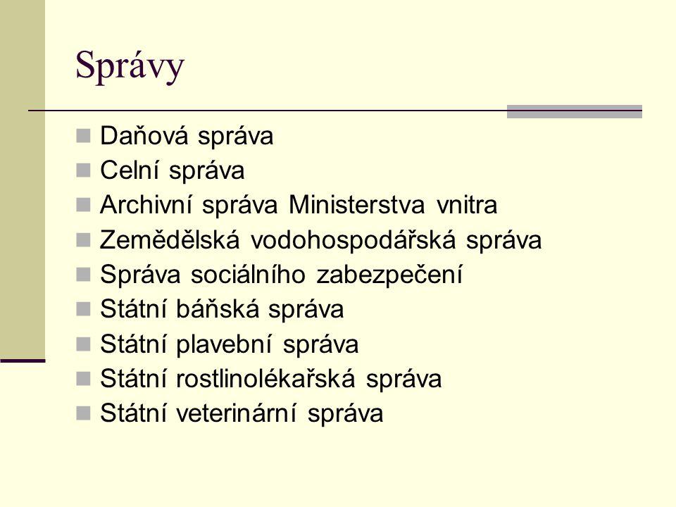 Správy Daňová správa Celní správa Archivní správa Ministerstva vnitra Zemědělská vodohospodářská správa Správa sociálního zabezpečení Státní báňská sp