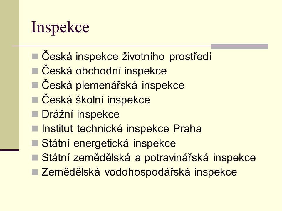 Inspekce Česká inspekce životního prostředí Česká obchodní inspekce Česká plemenářská inspekce Česká školní inspekce Drážní inspekce Institut technick
