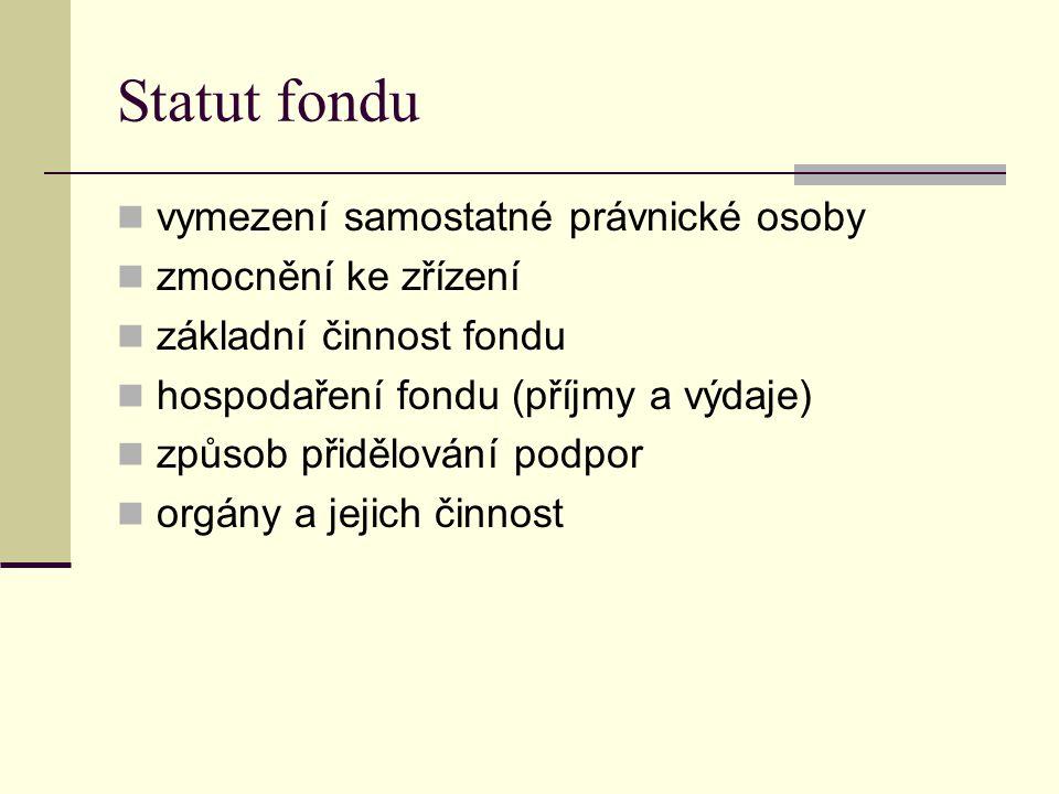 Statut fondu vymezení samostatné právnické osoby zmocnění ke zřízení základní činnost fondu hospodaření fondu (příjmy a výdaje) způsob přidělování pod