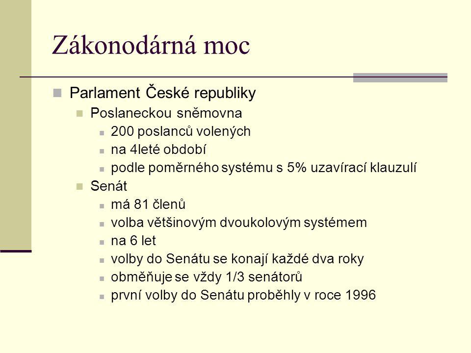 Soudní moc Ústavní soud stojí mimo soustavu obecných soudů 15 členů jmenovaných prezidentem se souhlasem Senátu na desetileté období Soustava obecných soudů Nejvyšší soud České republiky Nejvyšší správní soud Nejvyšší články soustavy obecných soudů 8 krajských soudů 81 okresních soudů Zvláštní soudy Vojenské soudy Obchodní soudy byly zrušeny v letech 1993 a 2000