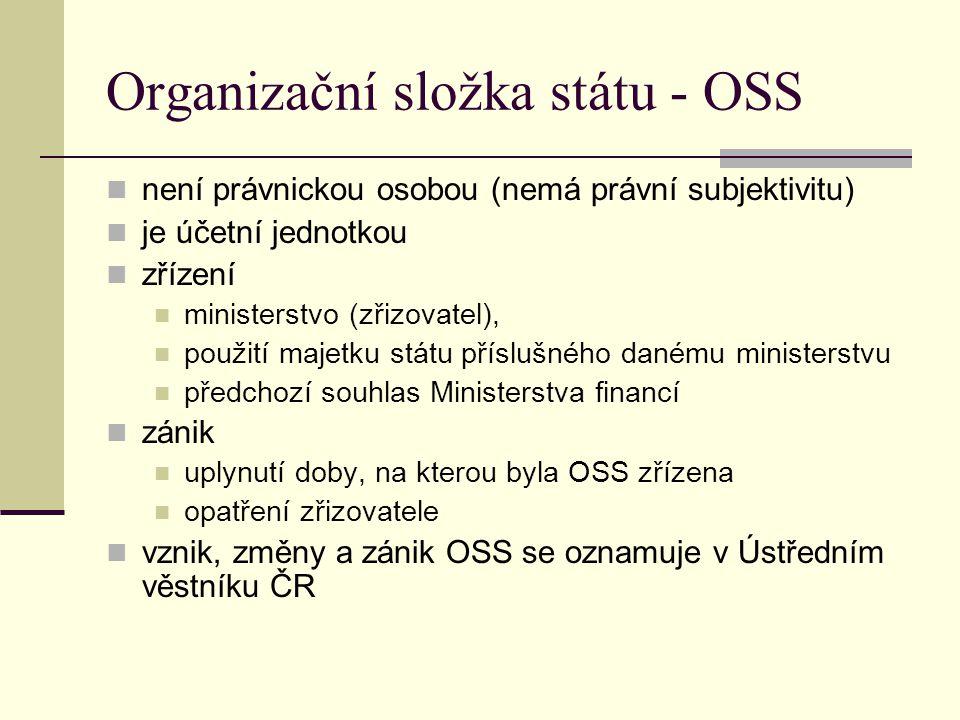 Organizační složka státu - OSS není právnickou osobou (nemá právní subjektivitu) je účetní jednotkou zřízení ministerstvo (zřizovatel), použití majetk