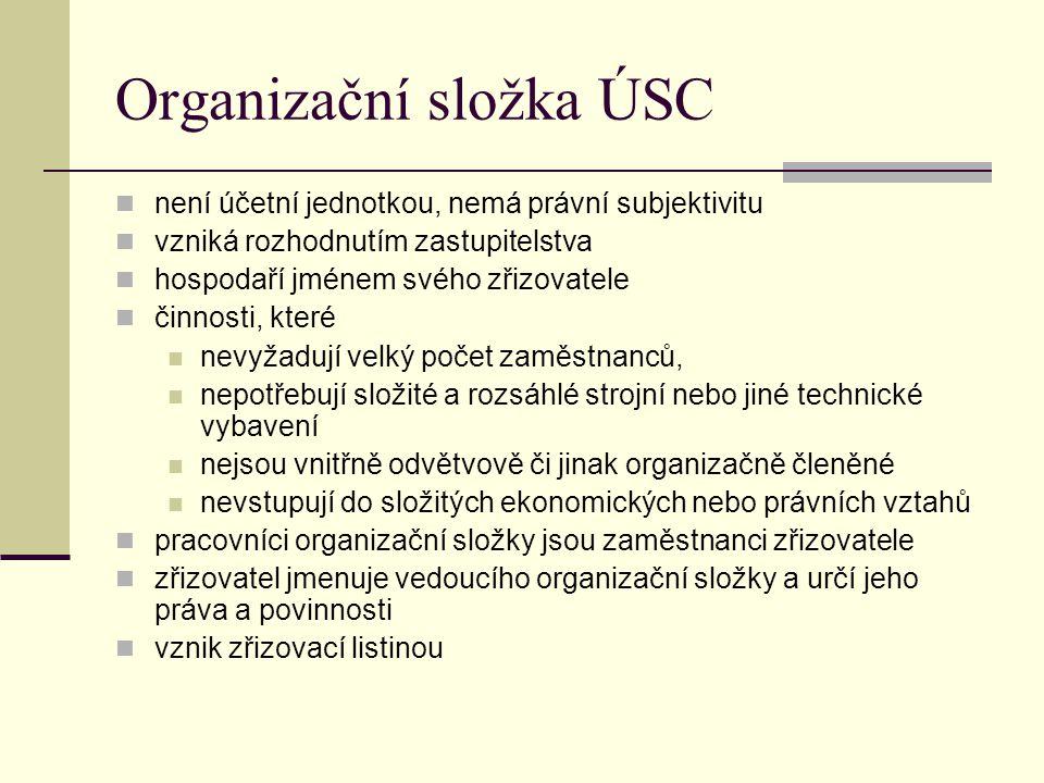 Organizační složka ÚSC není účetní jednotkou, nemá právní subjektivitu vzniká rozhodnutím zastupitelstva hospodaří jménem svého zřizovatele činnosti,