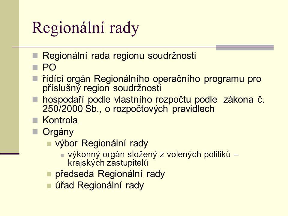Regionální rady Regionální rada regionu soudržnosti PO řídící orgán Regionálního operačního programu pro příslušný region soudržnosti hospodaří podle