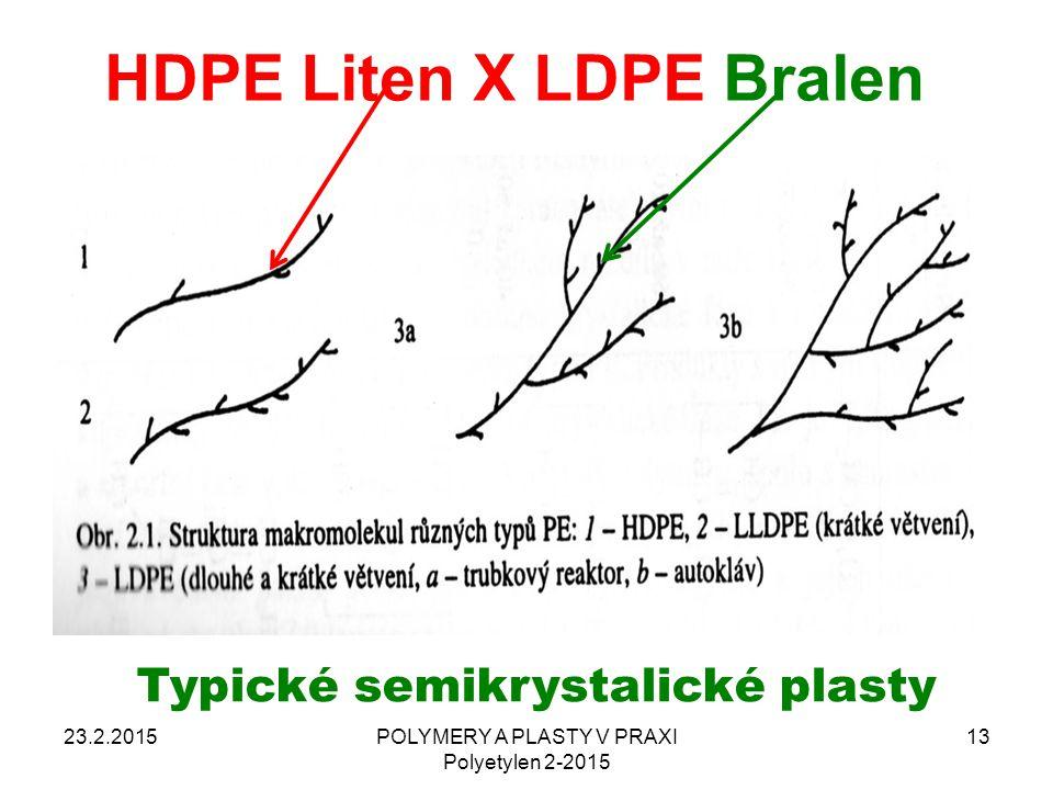 HDPE Liten X LDPE Bralen 23.2.2015POLYMERY A PLASTY V PRAXI Polyetylen 2-2015 13 Typické semikrystalické plasty