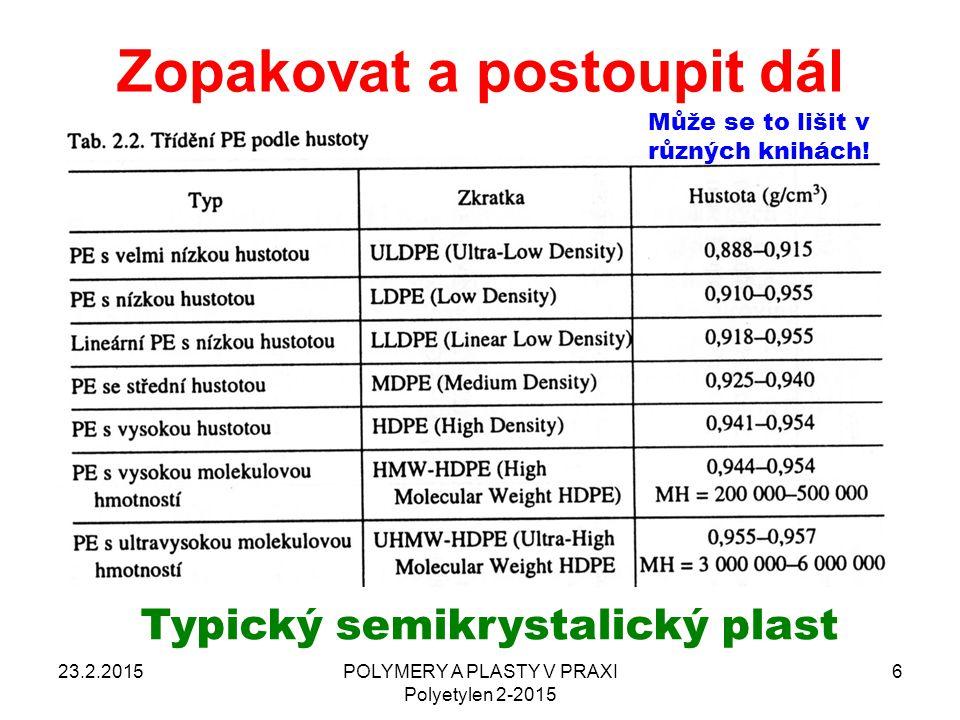 Zopakovat a postoupit dál 23.2.2015POLYMERY A PLASTY V PRAXI Polyetylen 2-2015 6 Typický semikrystalický plast Může se to lišit v různých knihách!