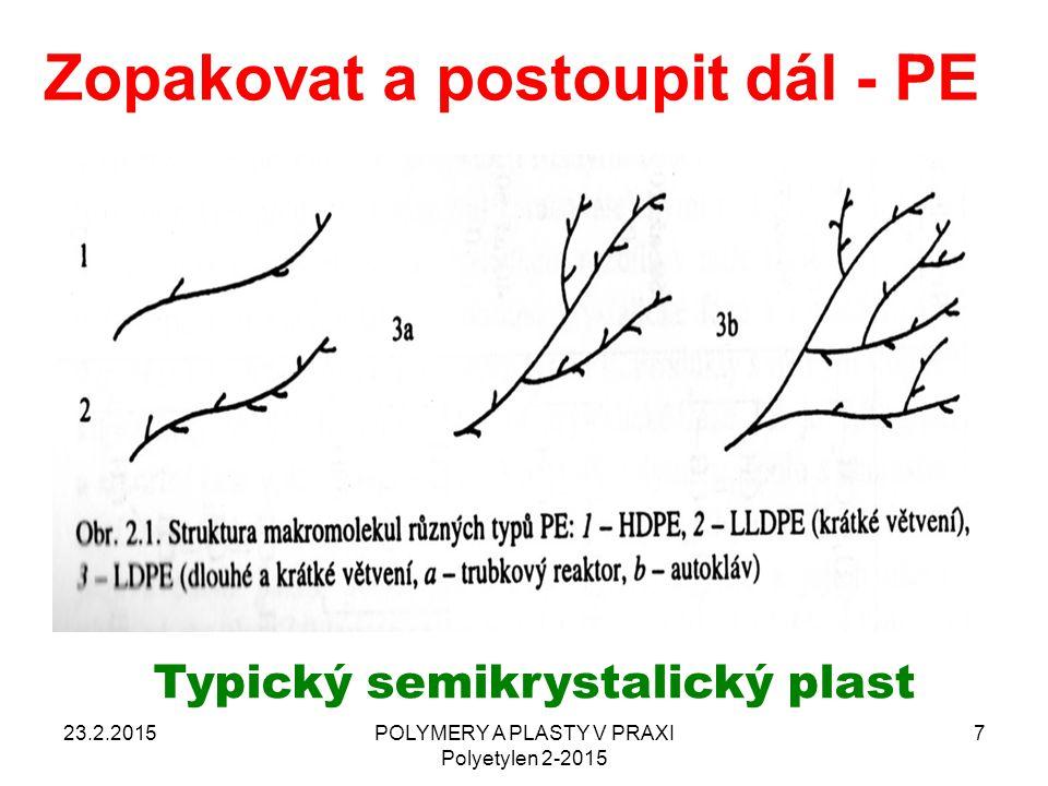 Zopakovat a postoupit dál - PE 23.2.2015POLYMERY A PLASTY V PRAXI Polyetylen 2-2015 7 Typický semikrystalický plast