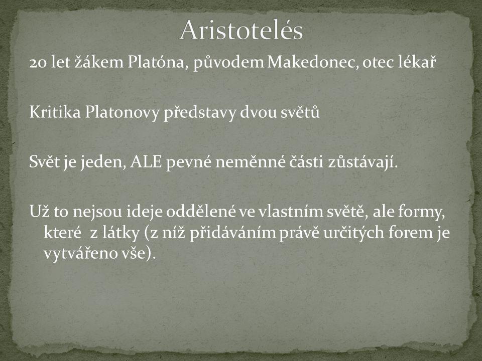 20 let žákem Platóna, původem Makedonec, otec lékař Kritika Platonovy představy dvou světů Svět je jeden, ALE pevné neměnné části zůstávají.