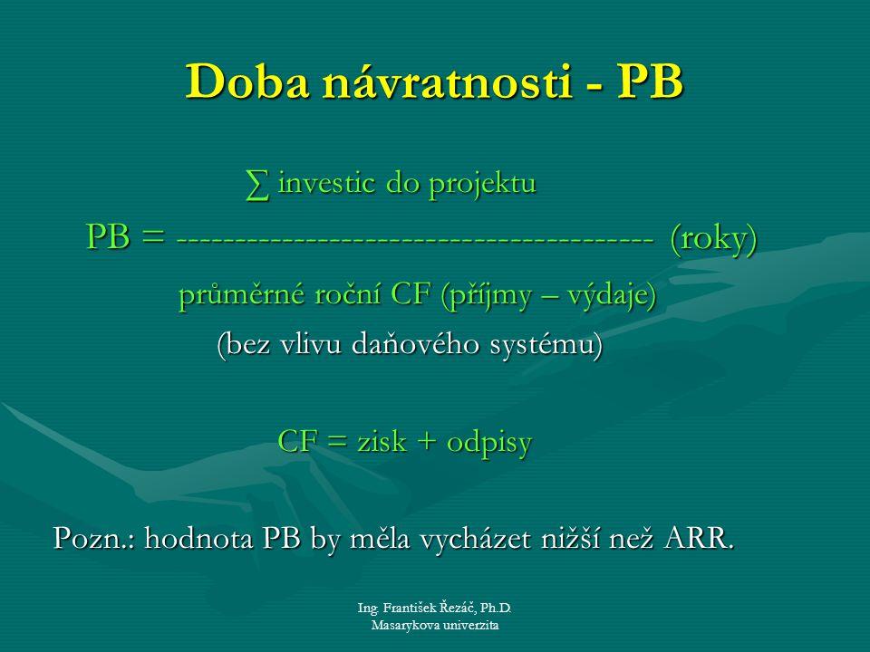 Ing. František Řezáč, Ph.D. Masarykova univerzita Doba návratnosti - PB ∑ investic do projektu ∑ investic do projektu PB = ---------------------------