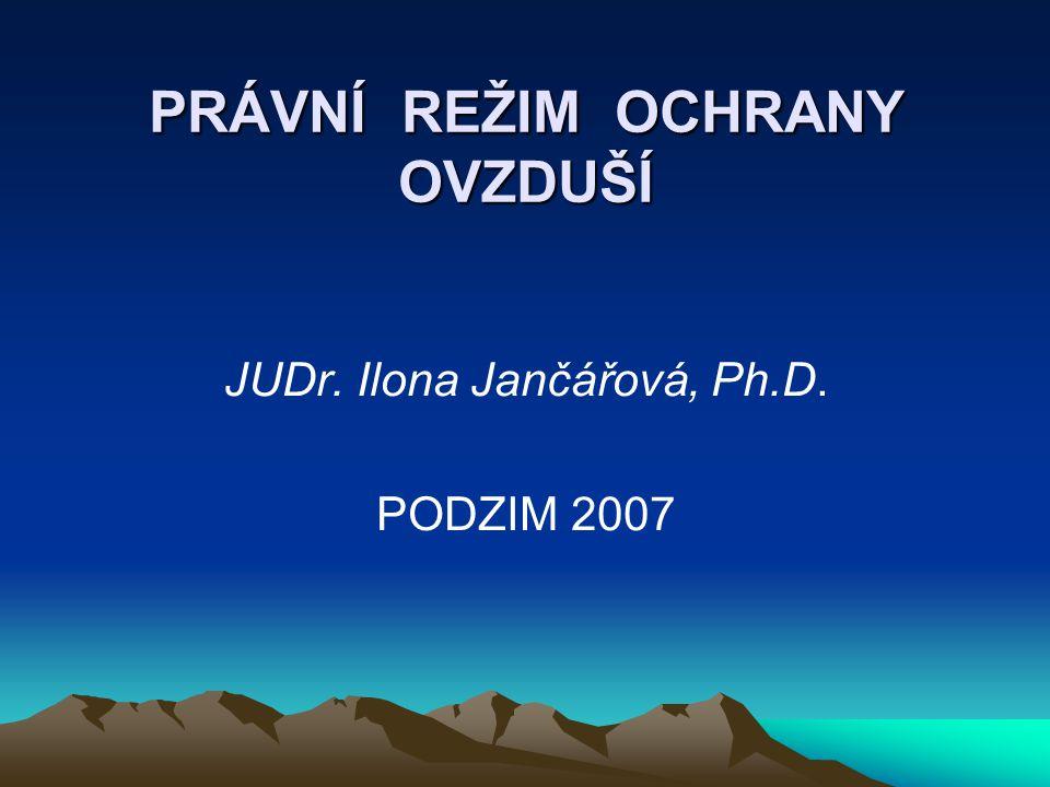 PRÁVNÍ REŽIM OCHRANY OVZDUŠÍ JUDr. Ilona Jančářová, Ph.D. PODZIM 2007