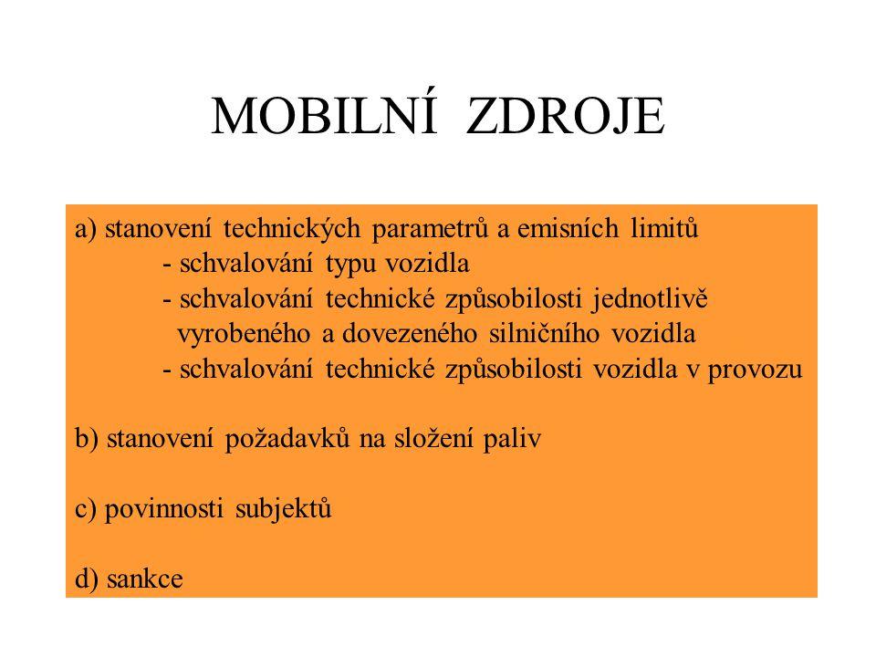 MOBILNÍ ZDROJE a) stanovení technických parametrů a emisních limitů - schvalování typu vozidla - schvalování technické způsobilosti jednotlivě vyrobeného a dovezeného silničního vozidla - schvalování technické způsobilosti vozidla v provozu b) stanovení požadavků na složení paliv c) povinnosti subjektů d) sankce