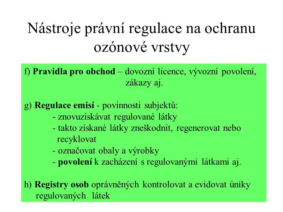 Nástroje právní regulace na ochranu ozónové vrstvy f) Pravidla pro obchod – dovozní licence, vývozní povolení, zákazy aj. g) Regulace emisí - povinnos