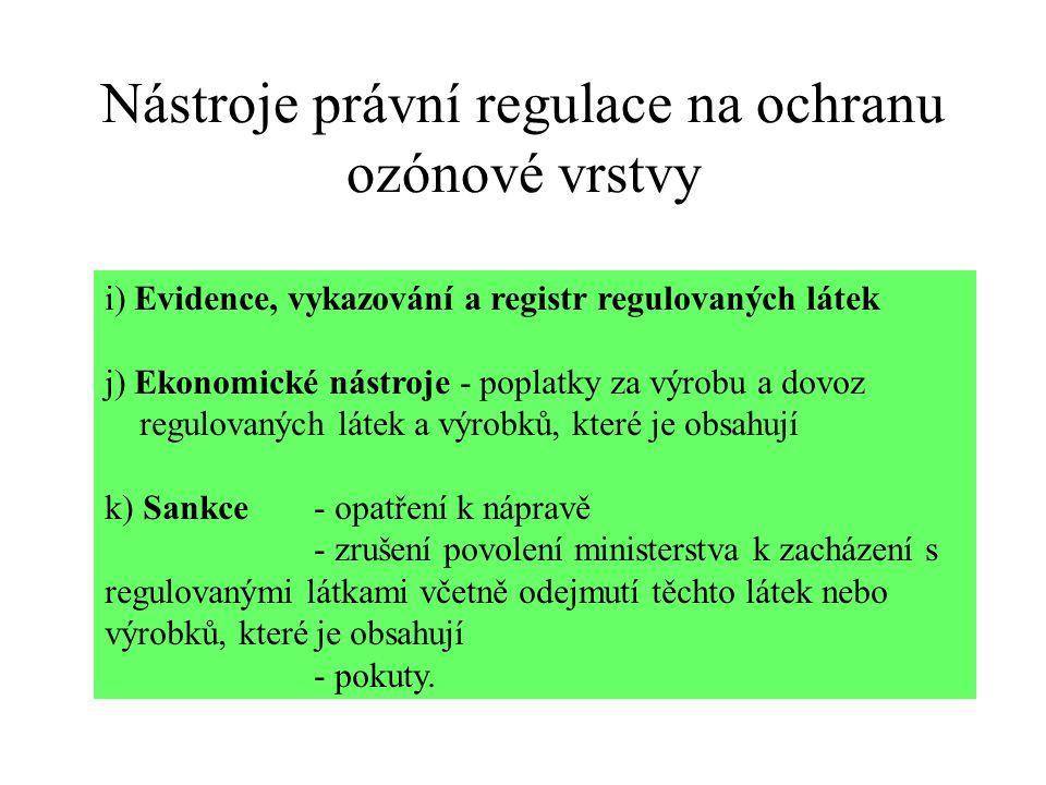 Nástroje právní regulace na ochranu ozónové vrstvy i) Evidence, vykazování a registr regulovaných látek j) Ekonomické nástroje - poplatky za výrobu a