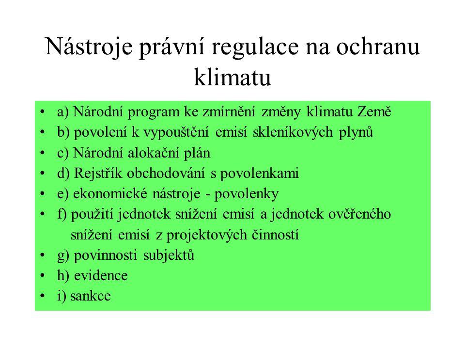 Nástroje právní regulace na ochranu klimatu a) Národní program ke zmírnění změny klimatu Země b) povolení k vypouštění emisí skleníkových plynů c) Nár