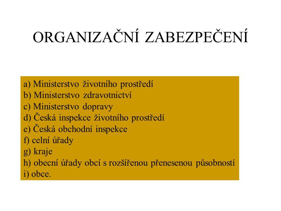 ORGANIZAČNÍ ZABEZPEČENÍ a) Ministerstvo životního prostředí b) Ministerstvo zdravotnictví c) Ministerstvo dopravy d) Česká inspekce životního prostřed