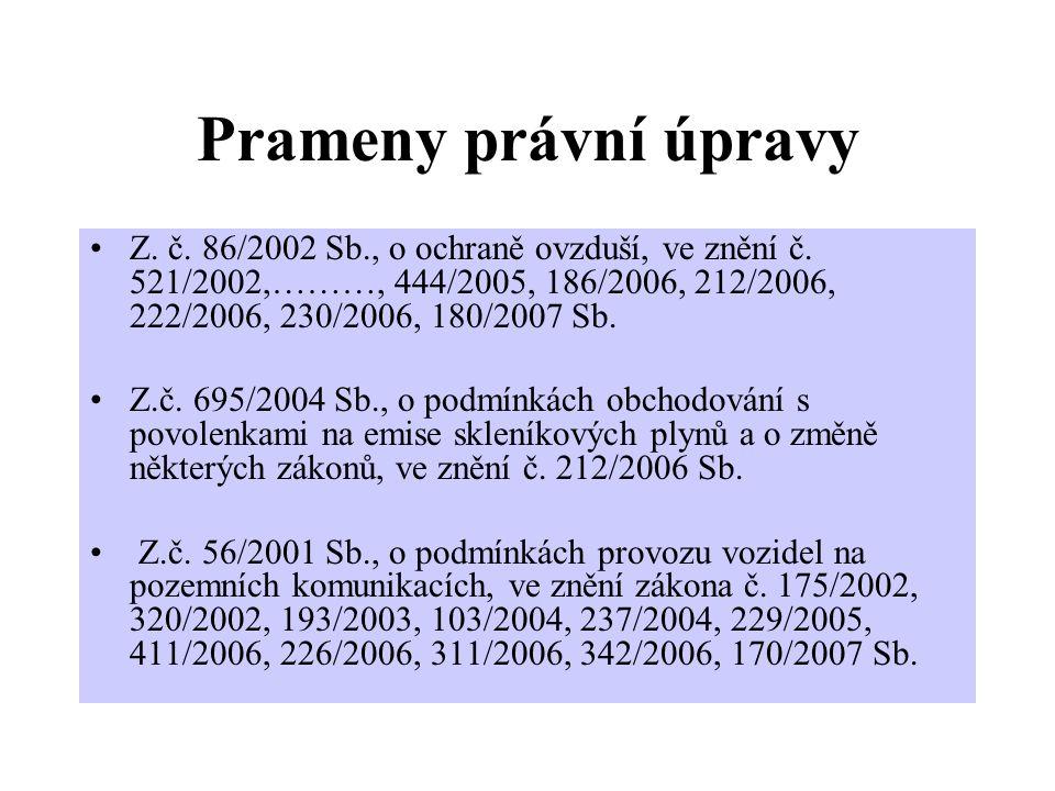 Prameny právní úpravy Z. č. 86/2002 Sb., o ochraně ovzduší, ve znění č.