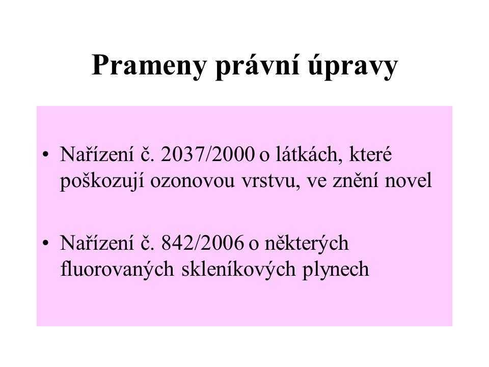 Prameny právní úpravy Nařízení č. 2037/2000 o látkách, které poškozují ozonovou vrstvu, ve znění novel Nařízení č. 842/2006 o některých fluorovaných s