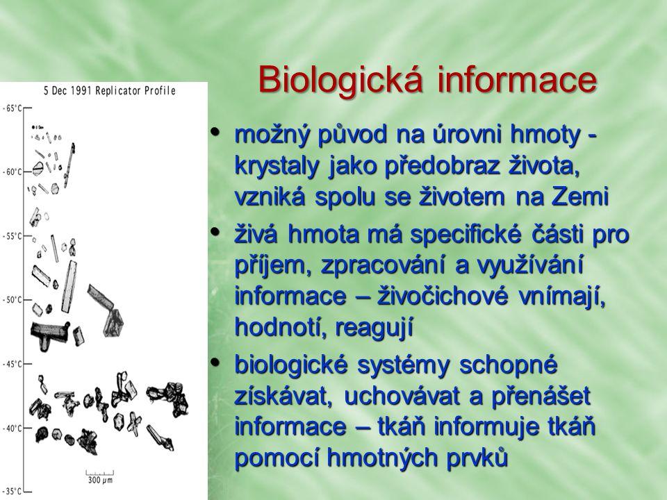 Biologická informace možný původ na úrovni hmoty - krystaly jako předobraz života, vzniká spolu se životem na Zemi možný původ na úrovni hmoty - krystaly jako předobraz života, vzniká spolu se životem na Zemi živá hmota má specifické části pro příjem, zpracování a využívání informace – živočichové vnímají, hodnotí, reagují živá hmota má specifické části pro příjem, zpracování a využívání informace – živočichové vnímají, hodnotí, reagují biologické systémy schopné získávat, uchovávat a přenášet informace – tkáň informuje tkáň pomocí hmotných prvků biologické systémy schopné získávat, uchovávat a přenášet informace – tkáň informuje tkáň pomocí hmotných prvků