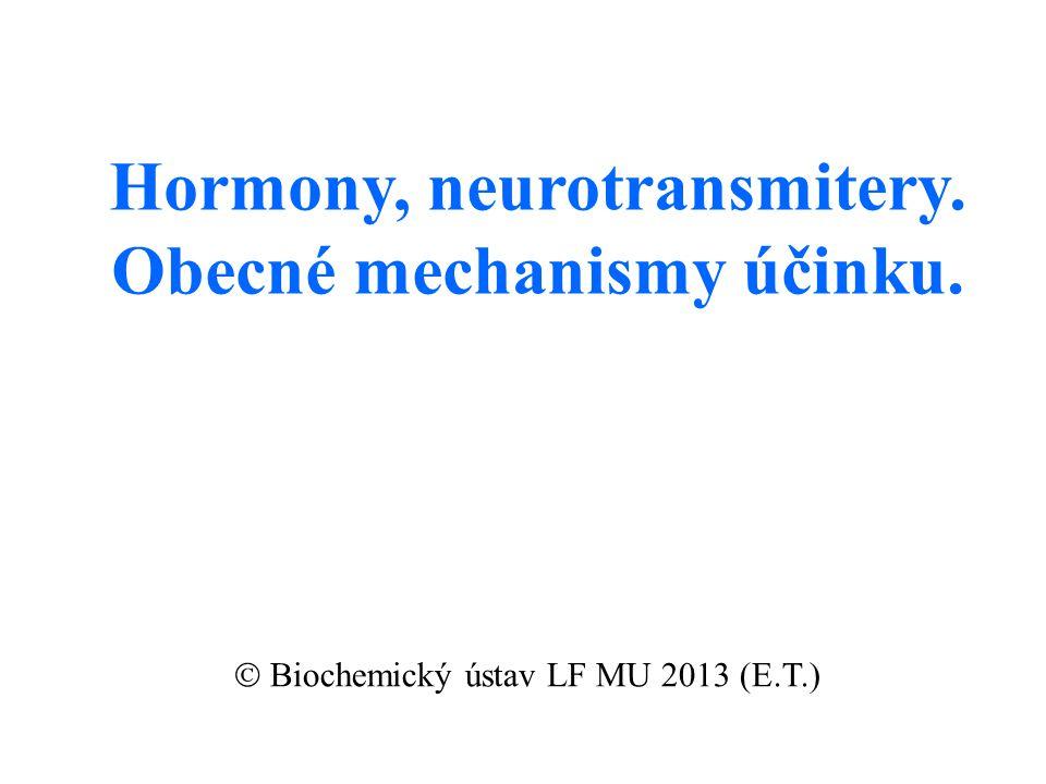 Hormony, neurotransmitery. Obecné mechanismy účinku.  Biochemický ústav LF MU 2013 (E.T.)