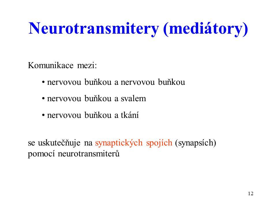 12 Komunikace mezi: nervovou buňkou a nervovou buňkou nervovou buňkou a svalem nervovou buňkou a tkání se uskutečňuje na synaptických spojích (synapsích) pomocí neurotransmiterů Neurotransmitery (mediátory)
